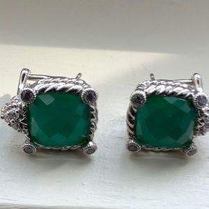 Judith Ripka Sterling Green Quartz Earrings